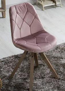 Silla Terciopelo Rosa Palido Nordica