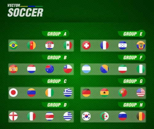 World Cup Groups Vector Graphic Brazil 2014