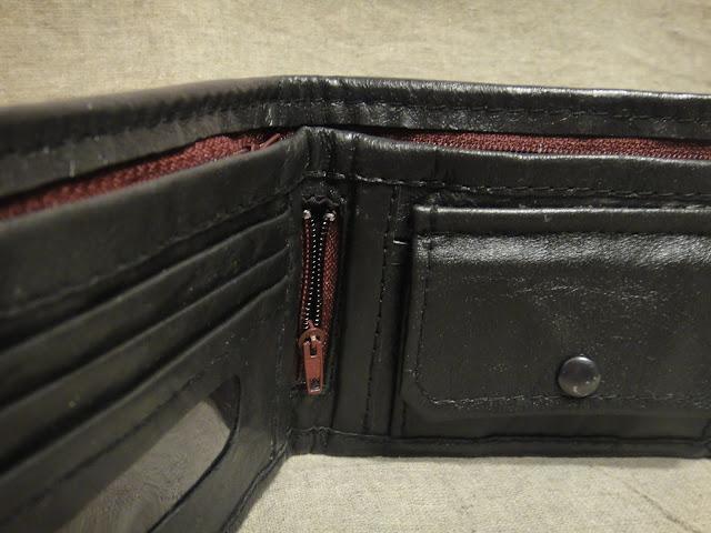 Кошелек бумажник кожаный - секретный карман на молнии для флешки или для второй сим-карты