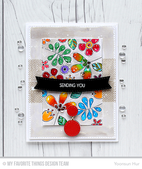 Sending You Flap Card by Yoonsun Hur featuring the Build-able Bouquet, Desert Bouquet, and Lisa Johnson Designs Fly-By Friends stamp sets and the Blueprints 28 Die-namics #mftstamps