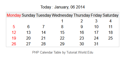 How To Create A Simple Dynamic Calendar Table With PHP