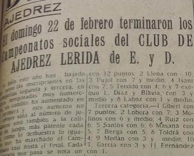 Torneo Social de Lérida 1948, nota en La Mañana, 4 de marzo de 1948 (1)