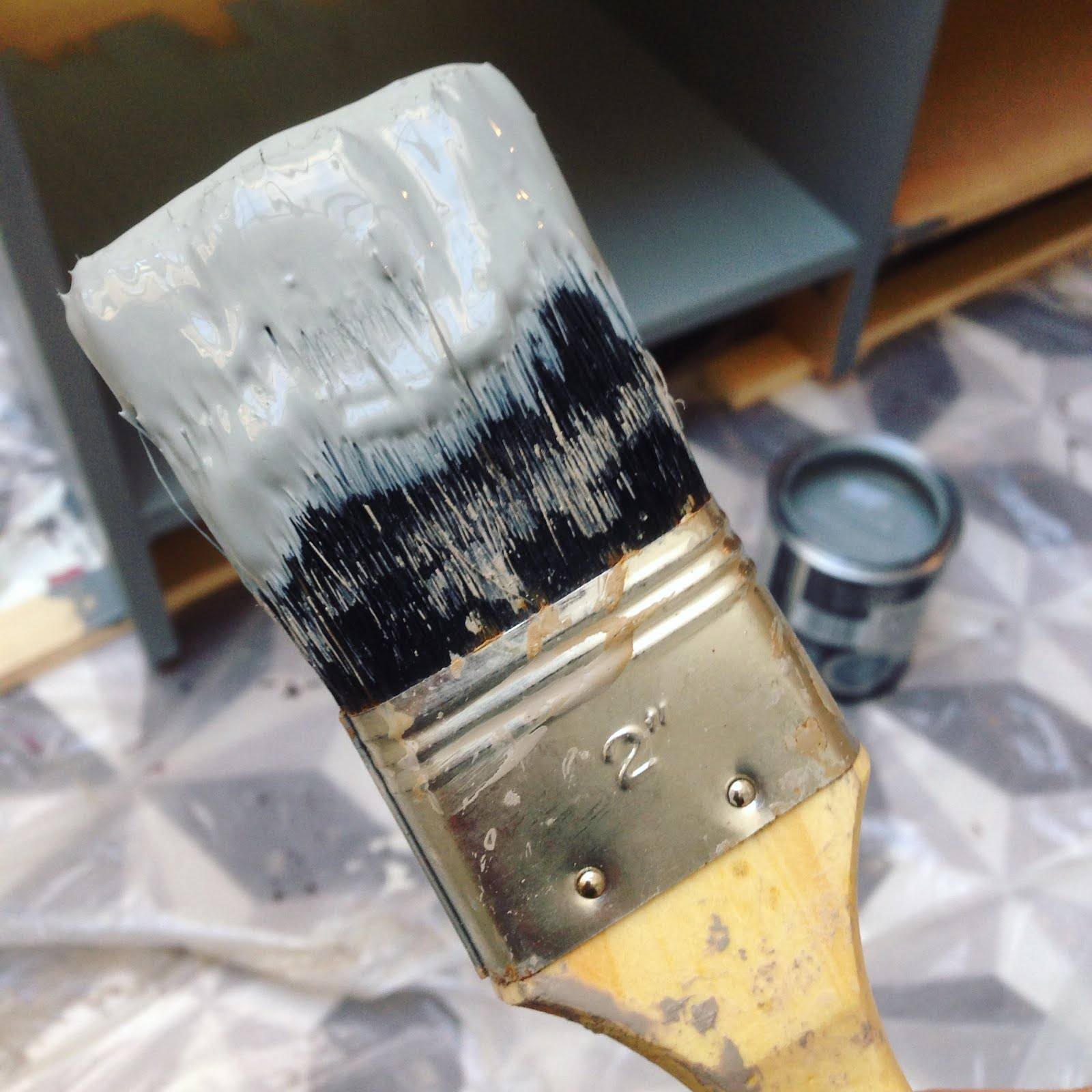 paint brush, painting all the things, grey, gray paint, kitchen island, ravacholle belgium based lifestyle blog