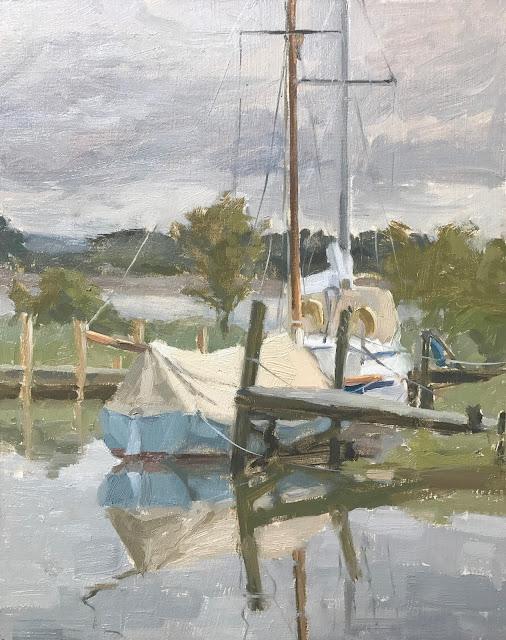 #208 'Paynes Boat Yard, Thorney Island' 24x30cm