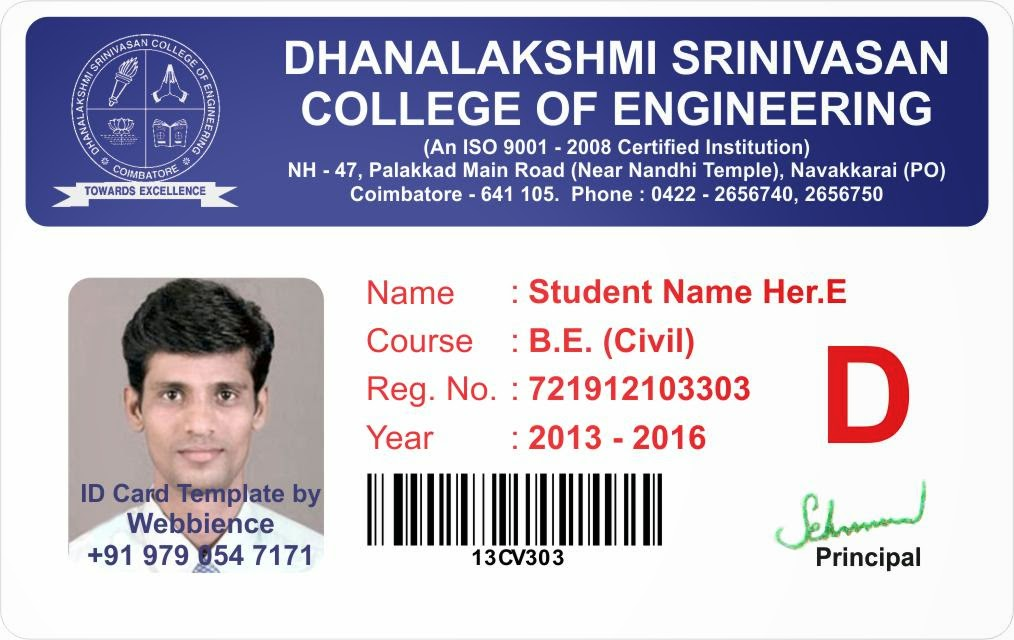 Template Card Ph Coimbatore College Student 14107t 97905 47171 Id -