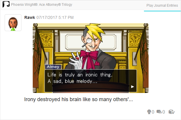 Phoenix Wright Ace Attorney Trials and Tribulations Luke Atmey life ironic thing