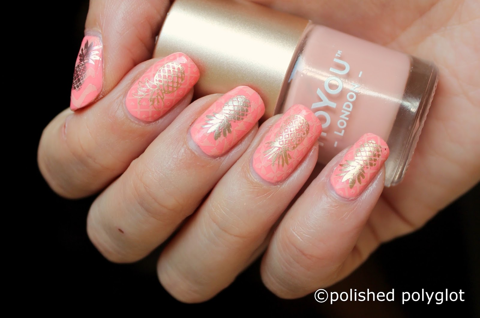 Nail art │ Golden pinapples on my tips [Nail Crazies Unite ...