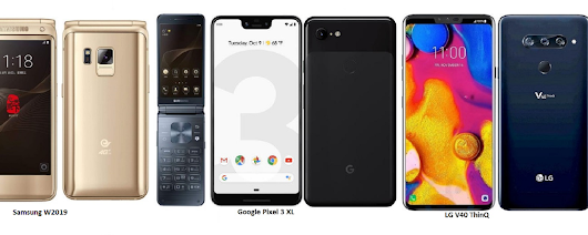 Samsung W2019 Vs Google Pixel 3 XL Vs LG V40 ThinQ Specifications Comparisons