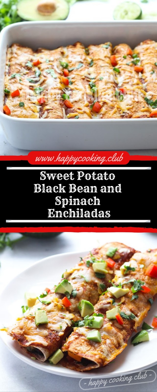 Sweet Potato Black Bean and Spinach Enchiladas