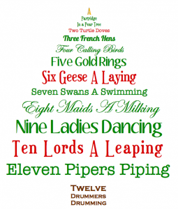 on the first day of christmas my true love gave to me a partridge in a pear tree - On The 12th Day Of Christmas