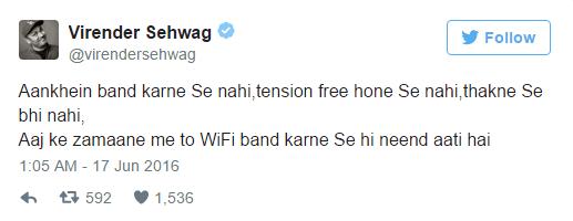 Virender Sehwag Tweet on Wifi