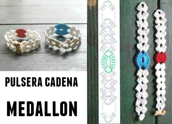 Pulsera motivos medallones a crochet