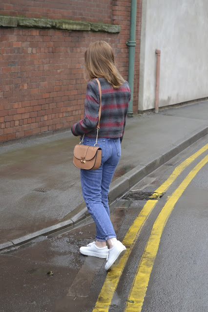 plaid Harrington style jacket from Topshop. Vintage Levis 501 style Mom jeans from Topshop Acne studios white trainers. Tan Primark bag Chloe style