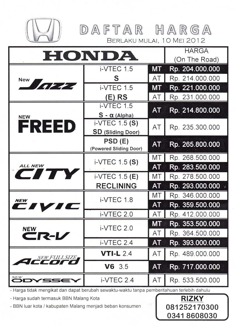Harga Mobil Honda Baru Malang Daftar Harga Honda Malang