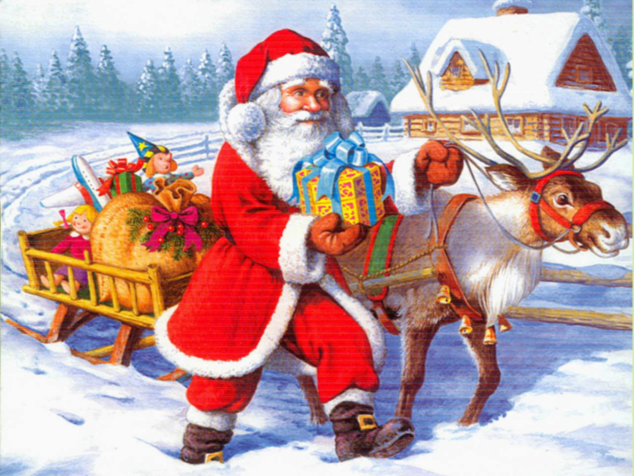santa claus with reindeer and gift bag image - Santa Claus With Kids