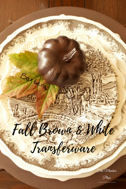 Set the Table - Fall Brown & White Transferware