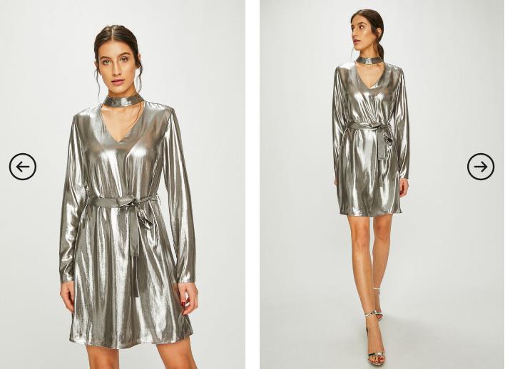Answear - Rochie argintie scurta de seara eleganta cu maneci lungi