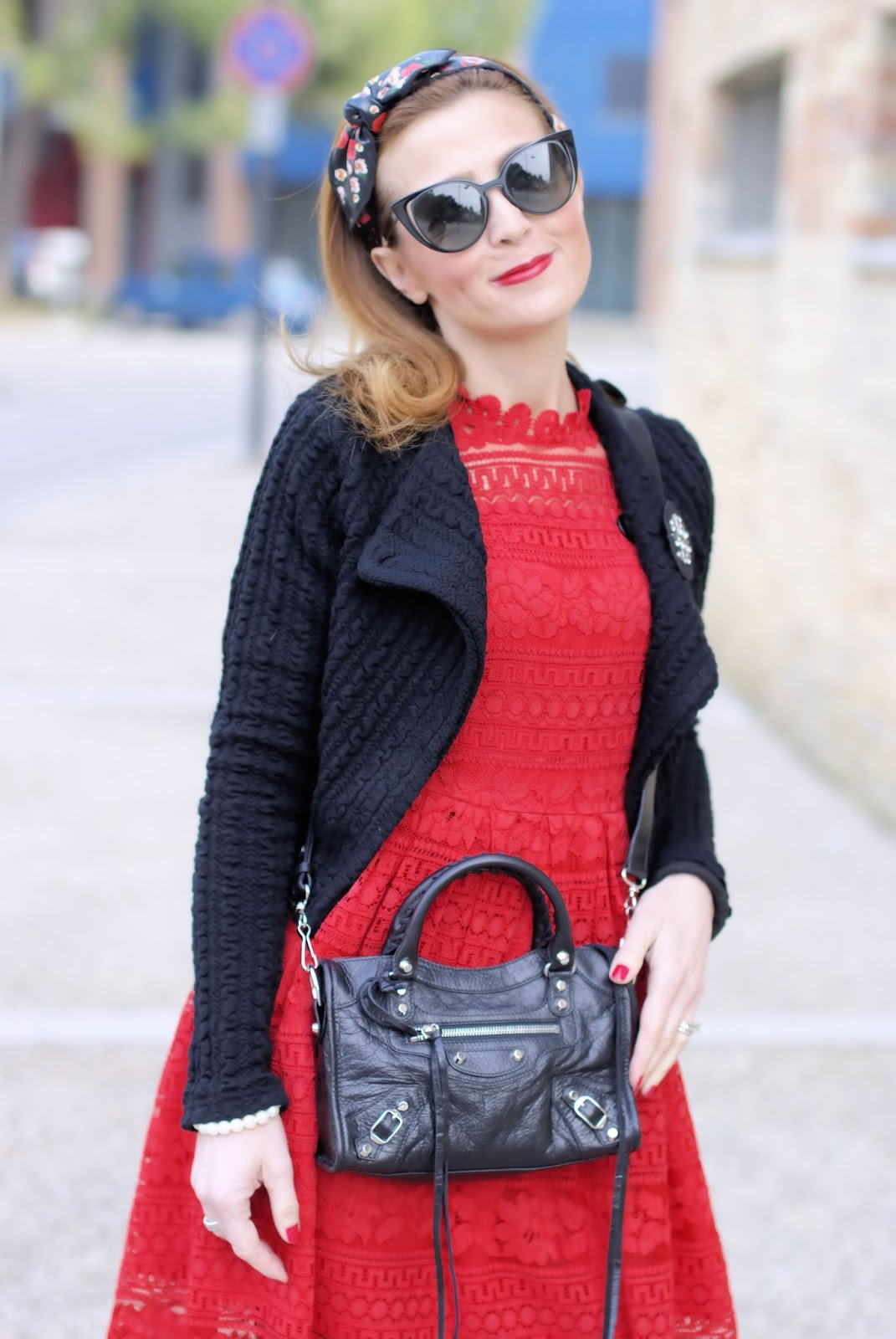 How to wear lace in Winter: Dezzal red lace dress, Balenciaga City Mini bag on Fashion and Cookies fashion blog, fashion blogger style
