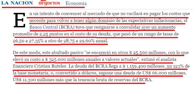 Al banco central se le encarece la deuda y no baja la inflación