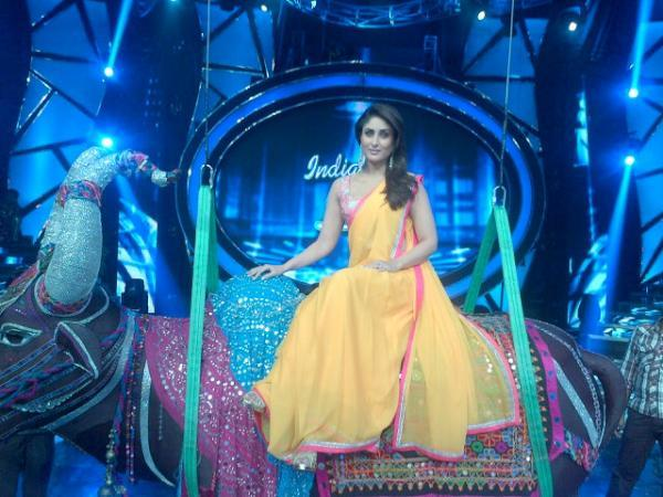 Kareena Kapoor on the sets of Indian Idol 6 in Yellow saree
