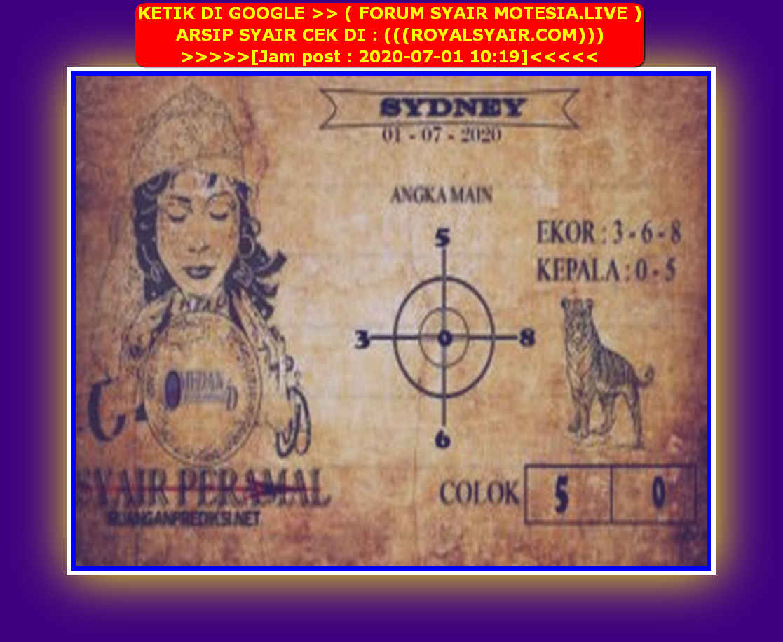 Kode syair Sydney Rabu 1 Juli 2020 145