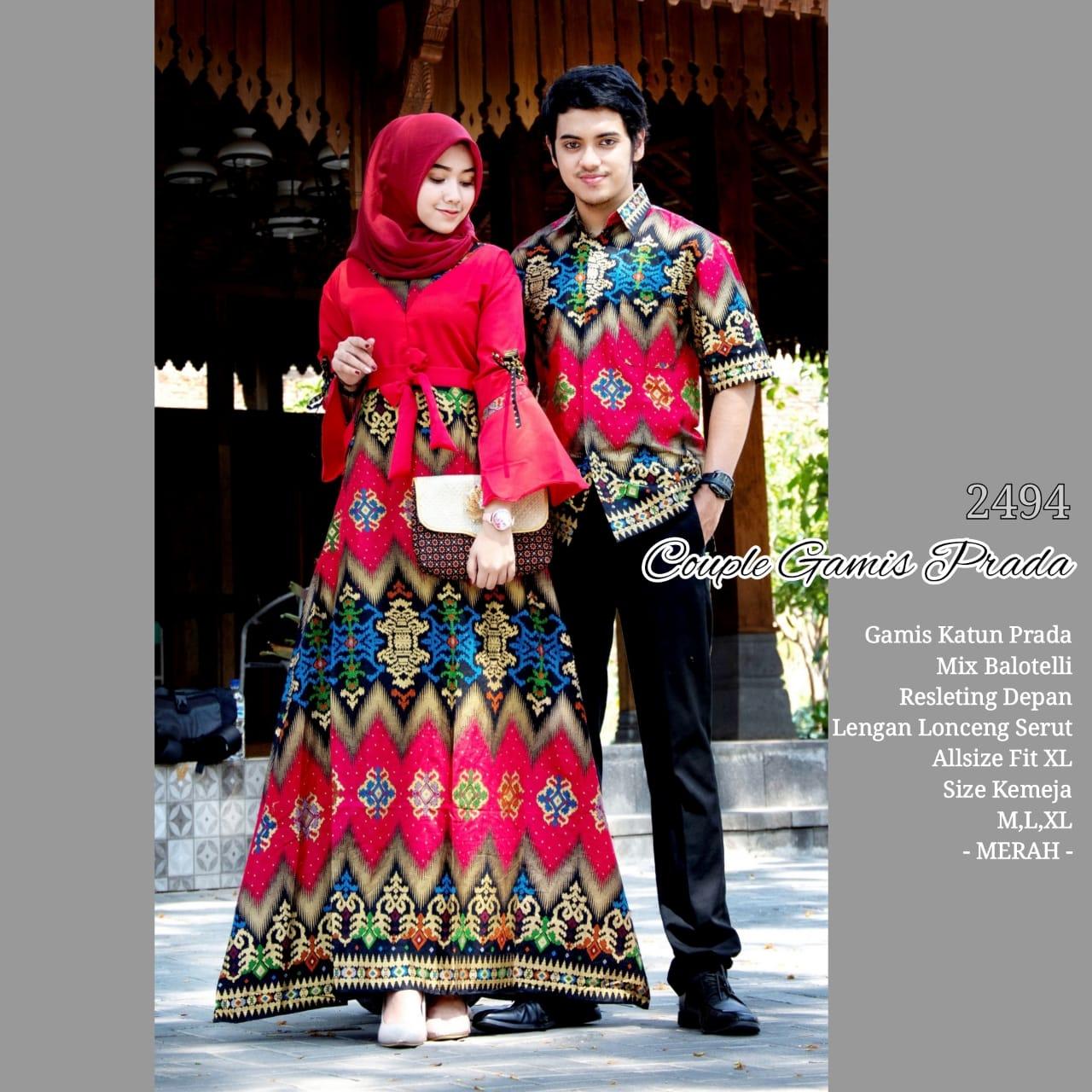 Baju Batik Couple Model Gamis Katun Prada Mix Balotelly Lengan
