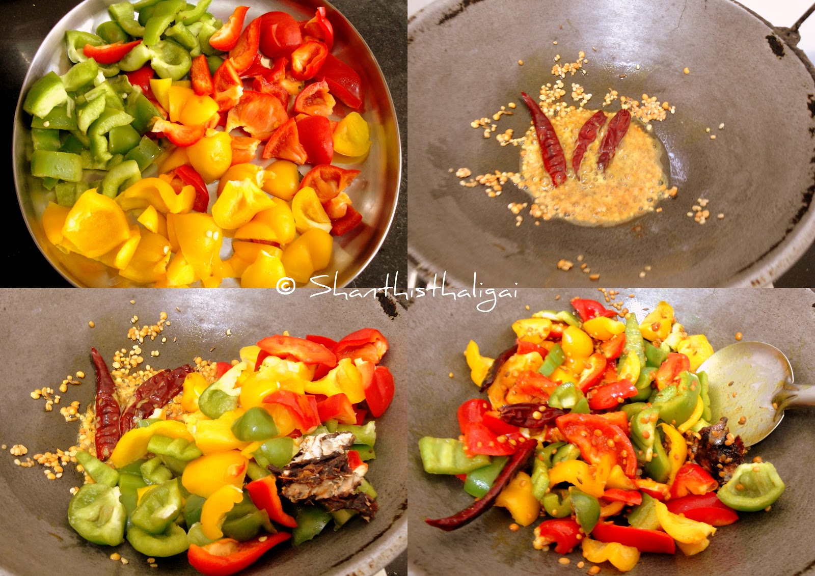 How to make tri colour bell pepper chutney, How to make spicy tri colour bell pepper chutney,