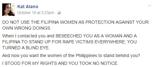 TV Host Kat Alano Speaks Up About Her Rape Case, Slams De Lima : 'You ignored rape victims when I asked for help so do not use women rights as your protection!'