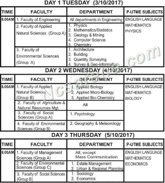 ESUT New 2017/2018 Post-UTME Screening Time-Table Schedule - 1