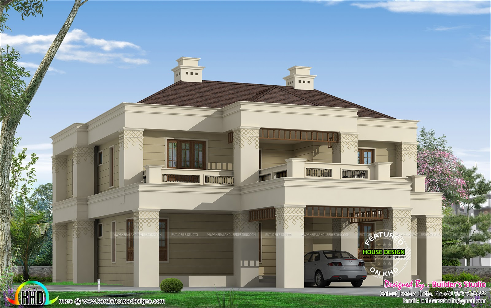 Kerala colonial home kerala home design and floor plans for Colonial style home design in kerala