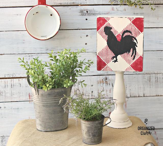 Thrift Shop Box Sign & Candlestick Buffalo Check Farm Decor