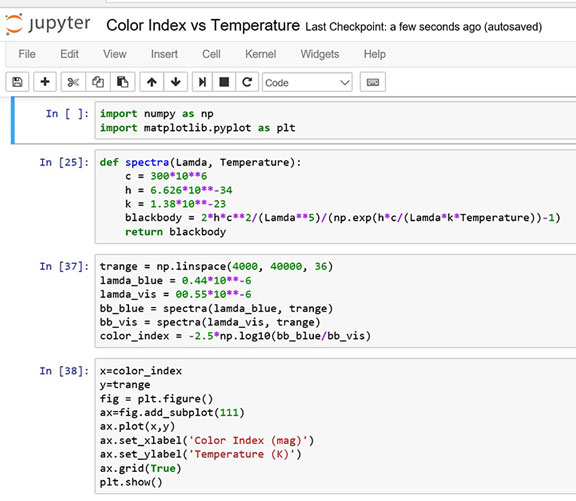 Python code for calculating temperature for given B-V color index (Source: Palmia Observatory)