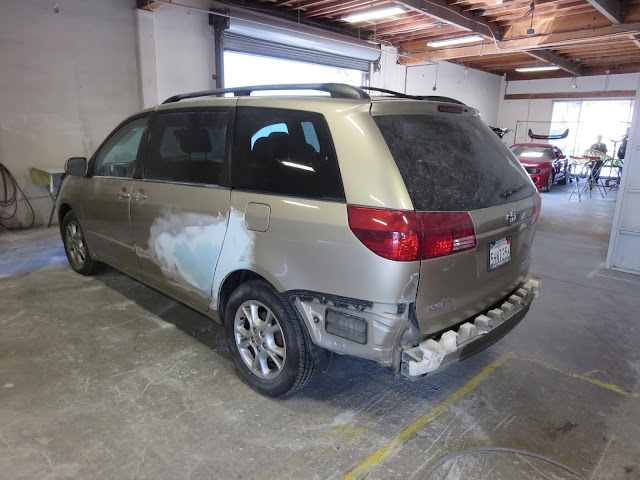 Dented & scraped Toyota Sienna during collision repair.