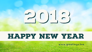 Blue sky  green gross Happy new year 2018
