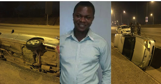 Photos: Nigerian Man alleges that President Buhari Advance Security hit him and drive away.