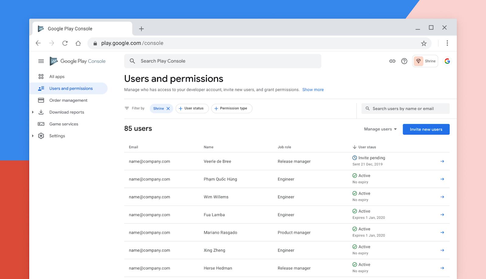 Google Play 台的 用户和权限管理