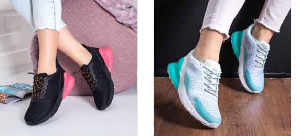 Pantofi sport fashion dama albi, negri cu roz la moda model 2019