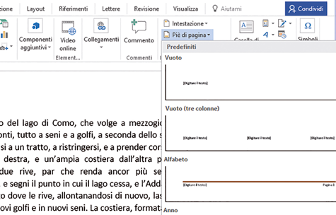 Intestazione documenti word
