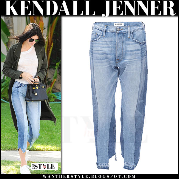 Kendall Jenner in cropped patchwork frame denim jeans and white sneakers kenneth cole what she wore