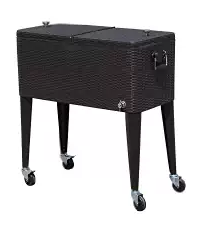 Tenive 80-quart Rolling Wheels Ice Chest Portable , Wicker Patio Coolers, Wicker Coolers, Outdoor Patio Accessories, Wicker Patio Accessories, Outdoor Furniture, Wicker Outdoor Furniture