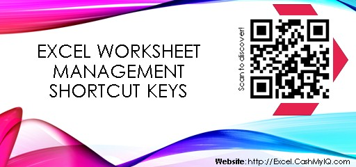 EXCEL WORKSHEET MANAGEMENT SHORTCUT KEYS