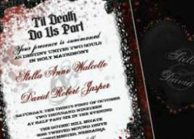 bloody elegant Halloween wedding Invite