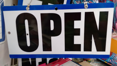 Open sign of a retail store