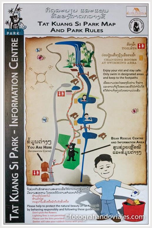 plano mapa de las cascadas de Kuang Si o Tat Kuang Xi cerca de Luang Prabang en Laos