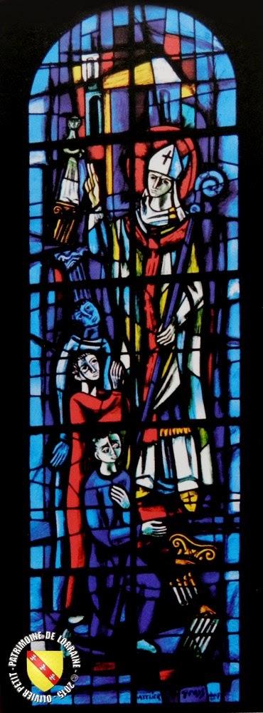 Saint-Nicolas (XXe) - Vitrail de l'église de Ley (57)
