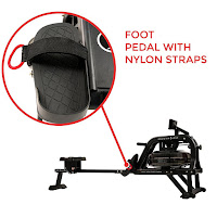 Non-slip textured foot pedals with adjustable straps on Sunny Health & Fitness SF-RW5713 Obsidian Surge 500 Water Rower Rowing Machine