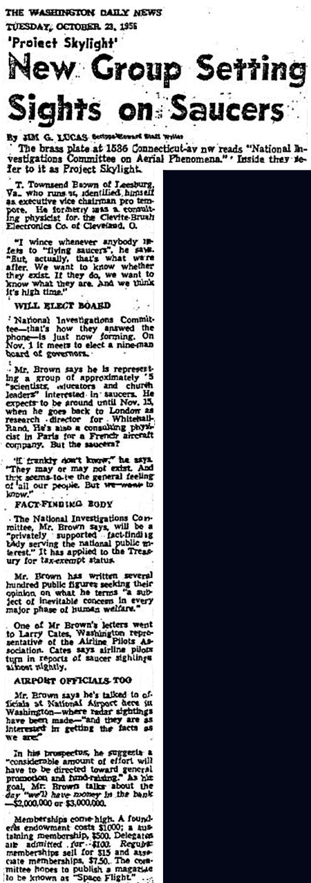 New Group (NICAP) Setting Sights On Saucers - The Washington Daily News 10-23-1956