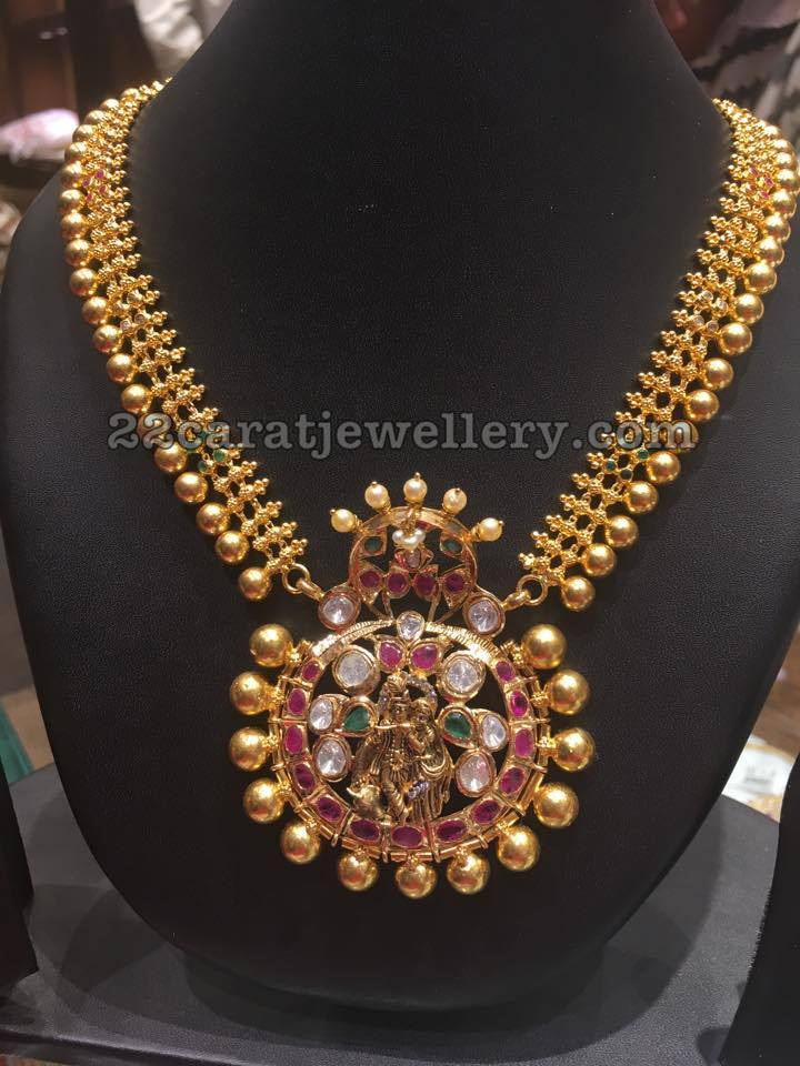 Gold Necklace Radha Krishna Locket Jewellery Designs