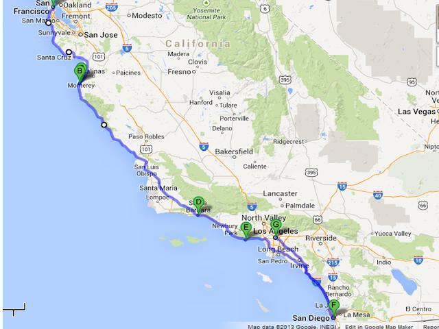 Mapa de uma viagem de carro de Los Angeles à San Diego