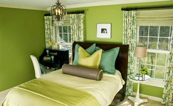 habitación verde marrón